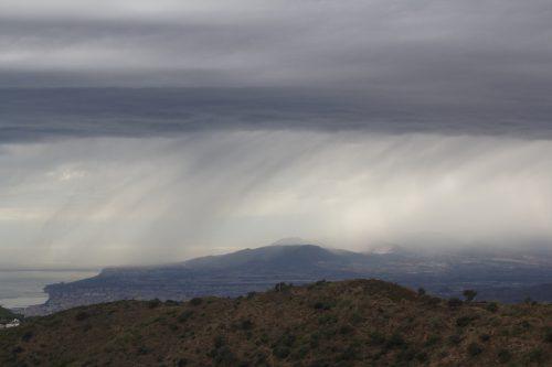 La lluvia sobre Málaga